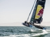 Red Bull Sailing Team`s GC32 hydro-foiling catamaran during the third race day of the first act of the Extreme Sailing Series in Muscat, Oman on March 16, 2018 // Dean Treml/Red Bull Content Pool // AP-1V2Q72TJN2111 // Usage for editorial use only // Please go to www.redbullcontentpool.com for further information. //