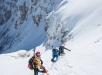 Philipp Reiter, Bernhard Hug and David Wallmann in the steep carrying passage near Faulkogel during Red Bull Der Lange Weg in Tauernalm, Austria on March 24, 2018 // Christian Gamsjger / Red Bull Content Pool // AP-1V5911ZS92111 // Usage for editorial use only // Please go to www.redbullcontentpool.com for further information. //