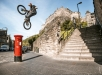 Danny MacAskill gap jumping onto a post box in Edinburgh, Scotland on September 17, 2019 // Dave Mackison / Red Bull Content Pool  // AP-21QQ8YSC91W11 // Usage for editorial use only //
