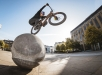Danny MacAskill dropping off a concrete ball in Edinburgh, Scotland on September 17, 2019 // Dave Mackison / Red Bull Content Pool  // AP-21QQ8XUQW1W11 // Usage for editorial use only //
