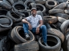 Social Entrepreneur Mzokhona Maxase who repurposes old tyres to create shoe and tyre polish in Ebony Park, South Africa, on April 25, 2019.